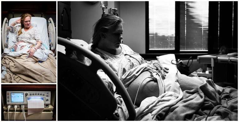 birth photography laboring mom waits for baby