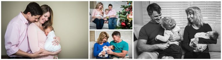 at home with parents and grandparents lifestyle newborn session