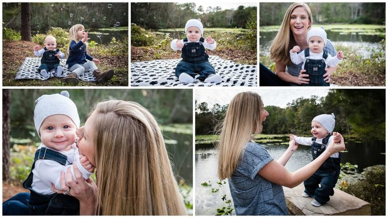 outside family photography session 6 months