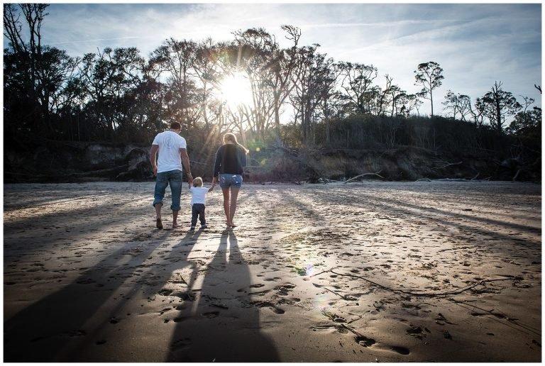 talbot island beach family session at sunset