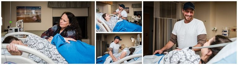 during labor husband and grandma help mom